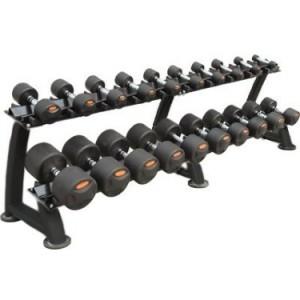 Peak Fitness gummi håndvægte 12 - 30 kg. inkl. stativ fra fitnessgruppen.dk
